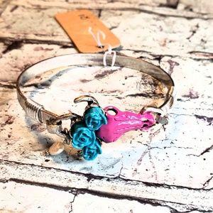 Jewelry - Cowskull steerhead boho hinge bangle bracelet